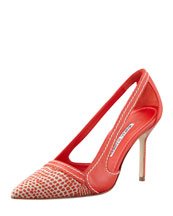 Manolo Blahnik Tifo Spotted Fabric-Toe Pump, Red