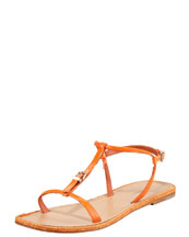Giorgio Armani Flat Buckled Sandal, Orange