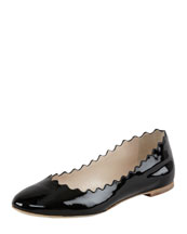Chloe Wavy Patent Leather Ballerina Flat, Black