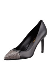 Saint Laurent Paris Python Cap-Toe Pump, Black/Earth