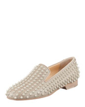 Christian Louboutin Rolling Spikes Red Sole Smoking Slipper, Nude