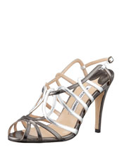 Manolo Blahnik Porzio Metallic Leather Sandal