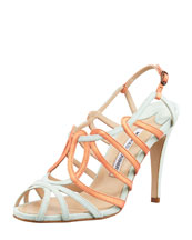 Manolo Blahnik Porzio Two-Tone Leather Sandal