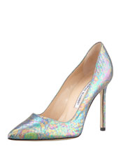 Manolo Blahnik BB Holographic Snake Pump, Blue