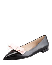 Prada Bicolor Pointed-Toe Bow Flat, Black/Pink
