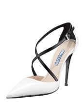 Prada Bi-Color Decollete Crisscross Pump