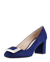 Prada Suede Buckled Block-Heel Pump, Navy