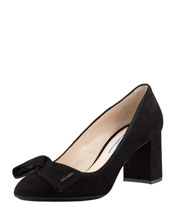 Prada Suede Block-Heel Bow Pump, Black