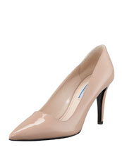 Prada Patent Pointed Toe Pump, Nude