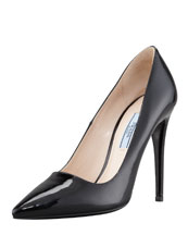 Prada Patent Pointed Toe Pump, Nero