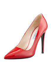 Prada Patent Pointed-Toe Pump, Red