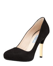 Prada Suede Metallic Heel Pump, Black