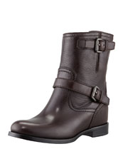 Prada Double-Buckle Hidden Wedge Ankle Boot, Dark Brown