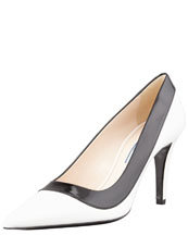PRADA Two-Tone Pointed-Toe Pump