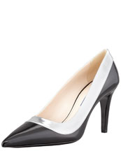 PRADA Bicolor Pointed Toe Pump, Black/Silver