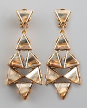 Oscar de la Renta Triangle Cluster Clip Earrings, Golden