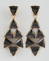 Oscar de la Renta Triangle Cluster Clip Earrings, Black