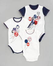 Little Marc Jacobs Baby's 1st Year Bodysuit Gift Set, Ecru Blue