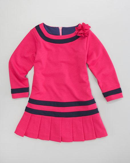 Contrast-Trim Knit Dress, Sizes 2T-3T