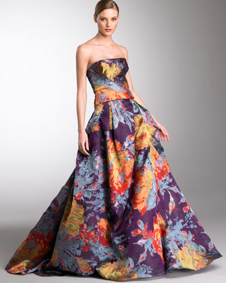 Floral-Jacquard Ball Gown