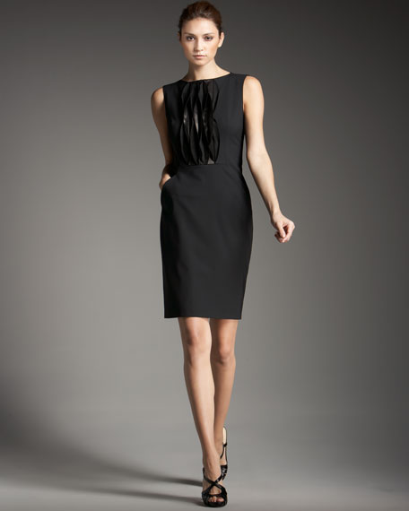 Leather-Ruffle Wool Dress