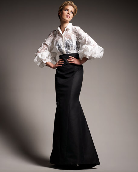 Origami-Sleeve Shirted Gown