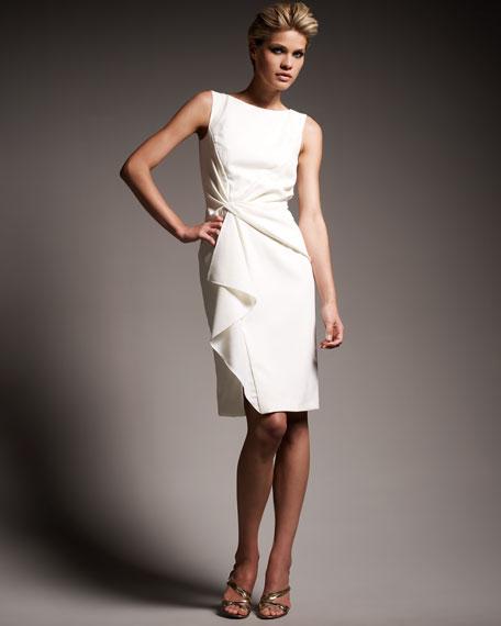 Draped Waist Crepe Dress
