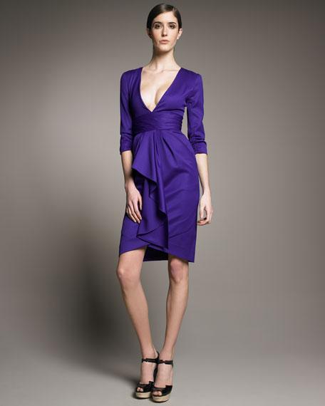Gabardine Cascade Dress