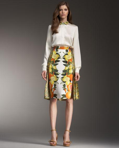Mixed-Print Skirt
