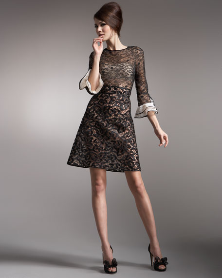 Tri-Lace Voulant-Sleeve Dress