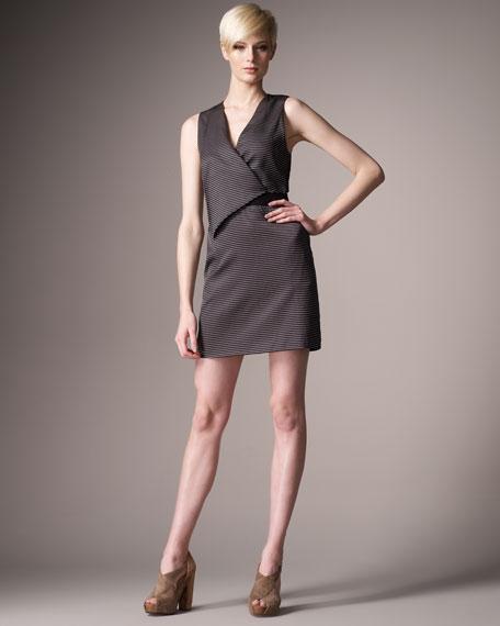 Draped Pinstripe Dress