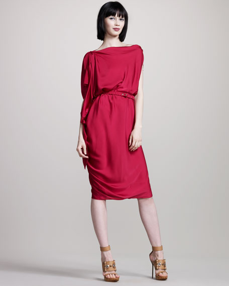 Drapey Stretch-Silk Dress
