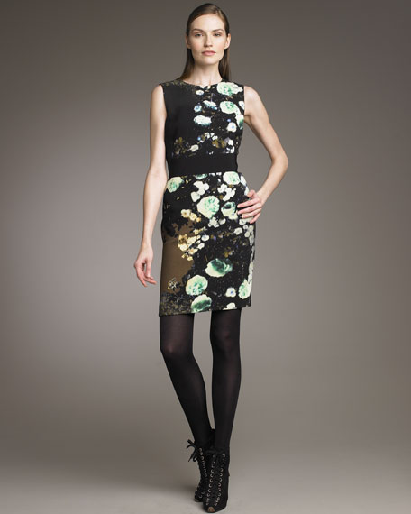 Floral-Print Banded-Waist Dress