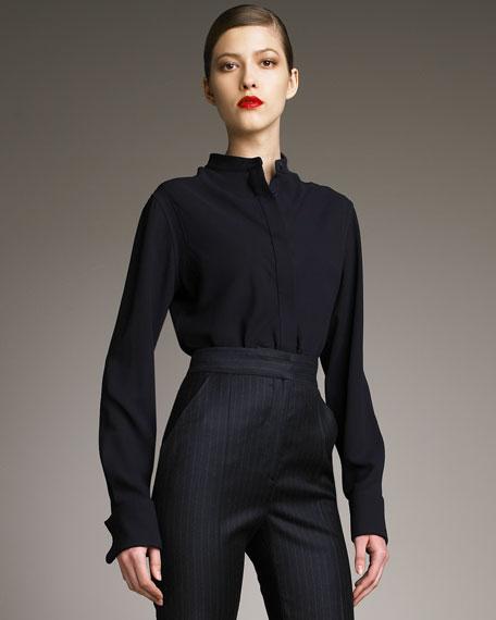1ef57030d09c4 Alexander McQueen Mandarin-Collar Silk Blouse