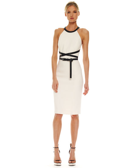 Cross-Belt Boucle Dress, White