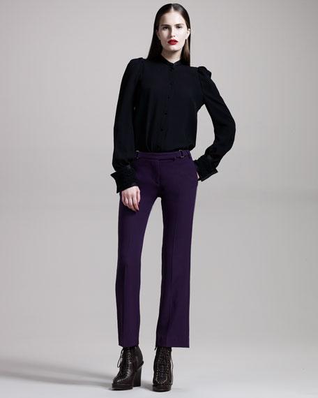 Buckle-Detail Crop Pants