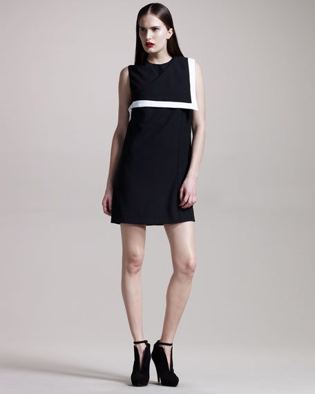 Fold-Collar Shift Dress
