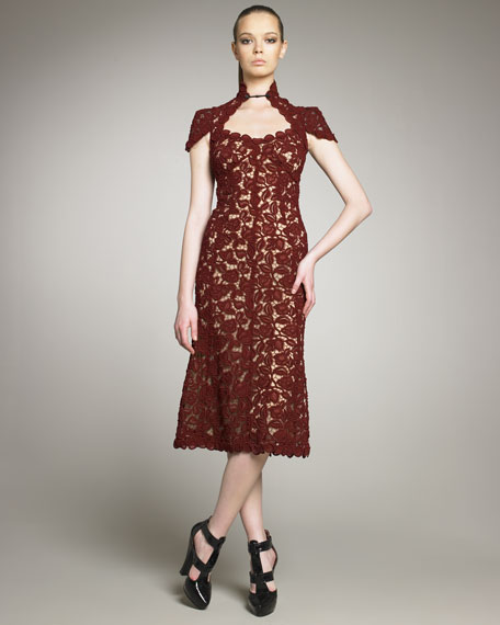 Rose Guipure Lace Dress