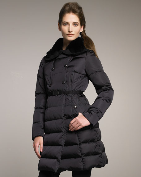 Fur-Collar Belted Puffer Coat