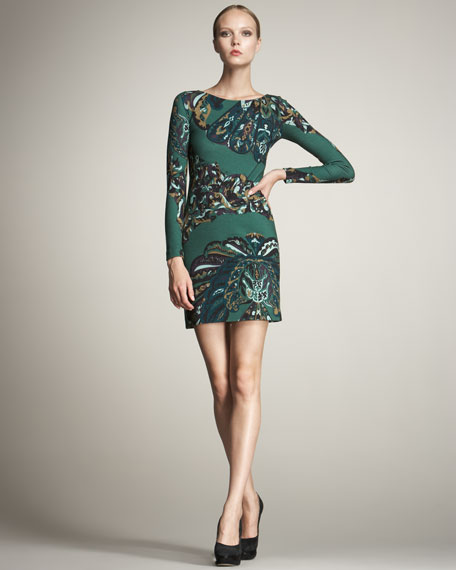 Peacock-Print Keyhole Dress