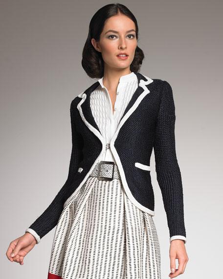Contrast-Trim Knit Blazer