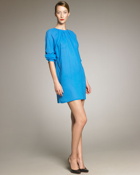 Long Sleeve Gathered Neck Dress