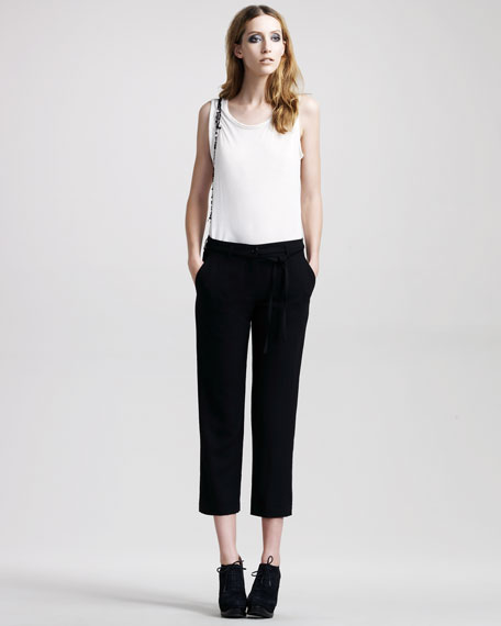 Cropped Tie-Front Pants
