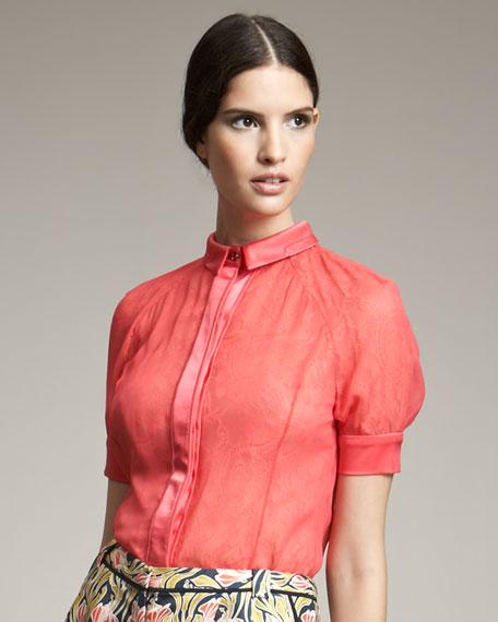 Short-Sleeve Lace Blouse