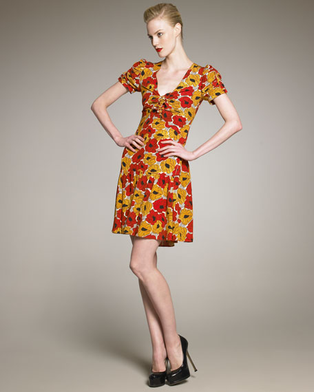 Poppy-Print Dress