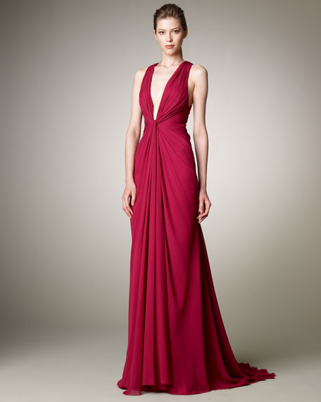 Plunge-Neck Chiffon Gown