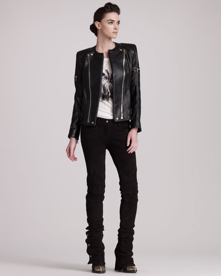 Flared Suede Pants