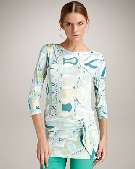 Marilyn Self-Belted Tunic, Green