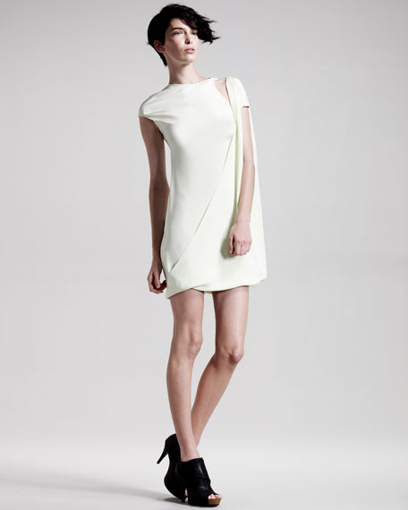 Drape-Front Cap-Sleeve Dress