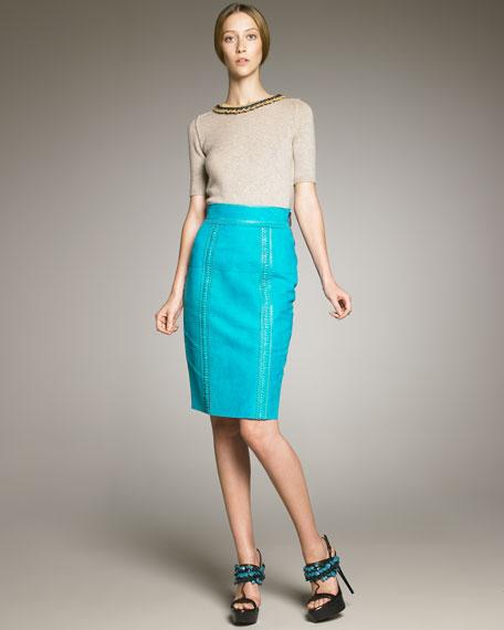 Stitch-Trim Suede Pencil Skirt
